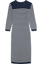 J.Crew Liv Striped Wool Blend Midi Dress Navy