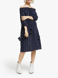 And Or Mariella Off Shoulder Stripe Dress Navy