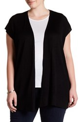 Premise Studio Ribbed Short Sleeve Cardigan Plus Size Black