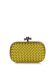 Bottega Veneta Knot Satin And Water Snake Clutch Yellow