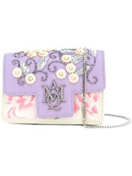 Alexander Mcqueen Embroidered Insignia Chain Satchel Pink Purple