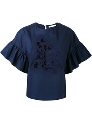 Vivetta Toadstool Embroidered Blouse Women Cotton 44 Blue