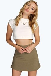 Boohoo Textured Zip A Line Mini Skirt Khaki