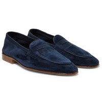 Edward Green Polperro Leather Trimmed Suede Penny Loafers Midnight Blue