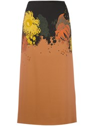 Dries Van Noten Abstract Floral Print Skirt Yellow Orange