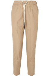 Bassike Net Sustain Cropped Herringbone Trimmed Cotton Pants Taupe