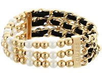 Guess Three Row 1 2 Bead Stretch And 1 2 Woven Chain Stretch Bracelet Gold White Jet Bracelet