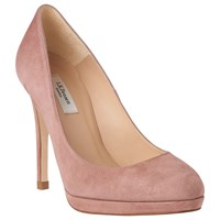 Lk Bennett L.K. Sledge Platform Court Shoes Dark Pink Suede