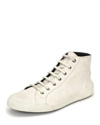 Lanvin Distressed Canvas High Top Sneaker White
