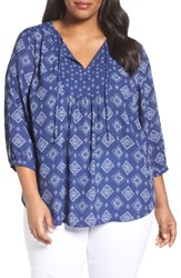 Nydj Plus Size Women's 'Patchwork Mosaic' Peasant Blouse Bandana Blue