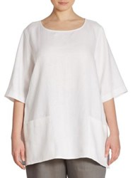 Caroline Rose Patch Pocket Linen Tunic White