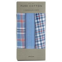 John Lewis Check Handkerchiefs Pack Of 3 Blue Red