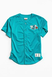 Mitchell And Ness Charlotte Hornets Button Front Jersey Turquoise