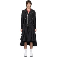 Comme Des Garcons Homme Plus Black Garment Treated Biker Coat