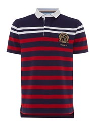 Howick Men's Weston Stripe Short Sleeve Rugby Navy