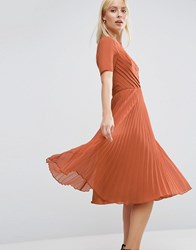 Asos Lace And Pleat Skater Midi Dress Caramel Brown