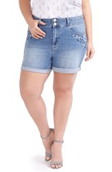 Addition Elle Love And Legend Plus Size Women's Embroidered Denim Roll Cuff Shorts Light Wash Denim