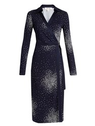 Diane Von Furstenberg Dot Print Silk Jersey Dress Navy White
