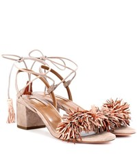 Aquazzura Wild Thing 50 Suede Sandals Brown