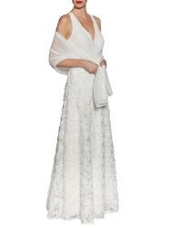Gina Bacconi Chiffon Maxi Dress With Fancy Skirt Off White