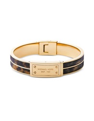 Michael Kors Heritage Gold Tone And Tortoise Acetate Signature Bangle Brown