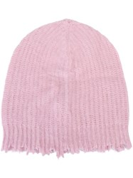 Msgm Frayed Edge Beanie Pink And Purple