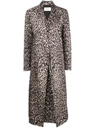 Ports 1961 Leopard Print Quilted Coat Brown