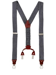 Cor Sine Labe Doli Houndstooth Printed Silk Suspenders