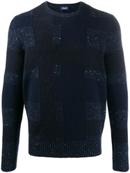 Drumohr Long Sleeve Fitted Sweater Blue