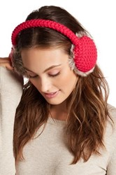 Collection Xiix Waffle Knit Faux Fur Earmuff Pink