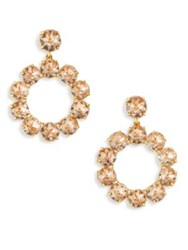 Tory Burch Crystal Stone Wreath Earrings Pink Blossom