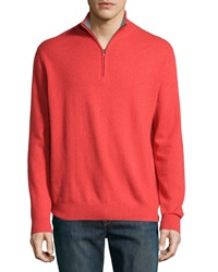Neiman Marcus Zip Front Cashmere Pullover Sweater Poppy