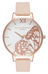 Olivia Burton Women's Butterfly Wing Leather Strap Watch 38Mm