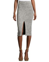 Alice Olivia Spiga Slit Front Knit Midi Pencil Skirt Gray