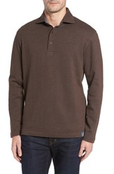 Thaddeus Men's Reiner Herringbone Long Sleeve Polo Chestnut