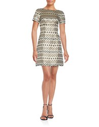 Vince Camuto Geometric Jacquard Short Sleeve A Line Dress Gold