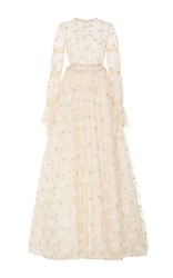 Luisa Beccaria Embroidered Tulle Long Sleeve Gown White
