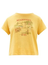 Solid And Striped X Re Done Woodstock Print Cotton T Shirt Yellow