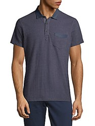 Saks Fifth Avenue Textured Chambray Polo Blue
