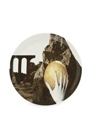 Pam P.A.M. Hand And Egg Print Large Ceramic Plate Grey Gold