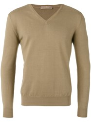 Cruciani V Neck Jumper Men Cotton 50 Green