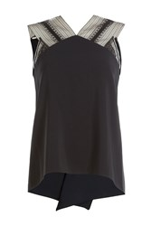 Roland Mouret Sleeveless Draped Top With Lace Insets Black