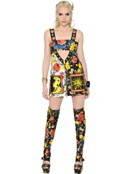 Fausto Puglisi Cut Out Printed Silk Twill Dress