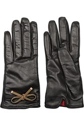 Valentino Bow Embellished Leather Gloves