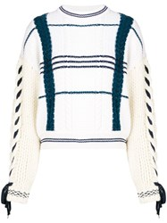 Carven Pattern Chunky Knit Sweater White