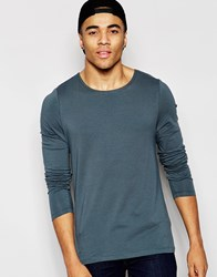 Asos Muscle Long Sleeve T Shirt With Boat Neck In Grey Grey