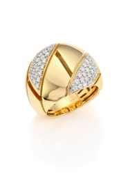 Roberto Coin Gourmette Pave Diamond And 18K Yellow Gold Ring