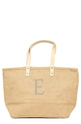 Cathy's Concepts 'Nantucket' Personalized Jute Tote Beige Natural E