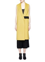 Victor Alfaro Button Tab Contrast Back Sleeveless Flannel Coat Yellow Multi Colour
