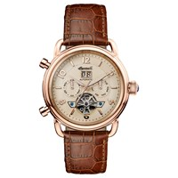 Ingersoll Men's The New England Automatic Chronograph Date Heartbeat Leather Strap Watch Brown Rose Gold